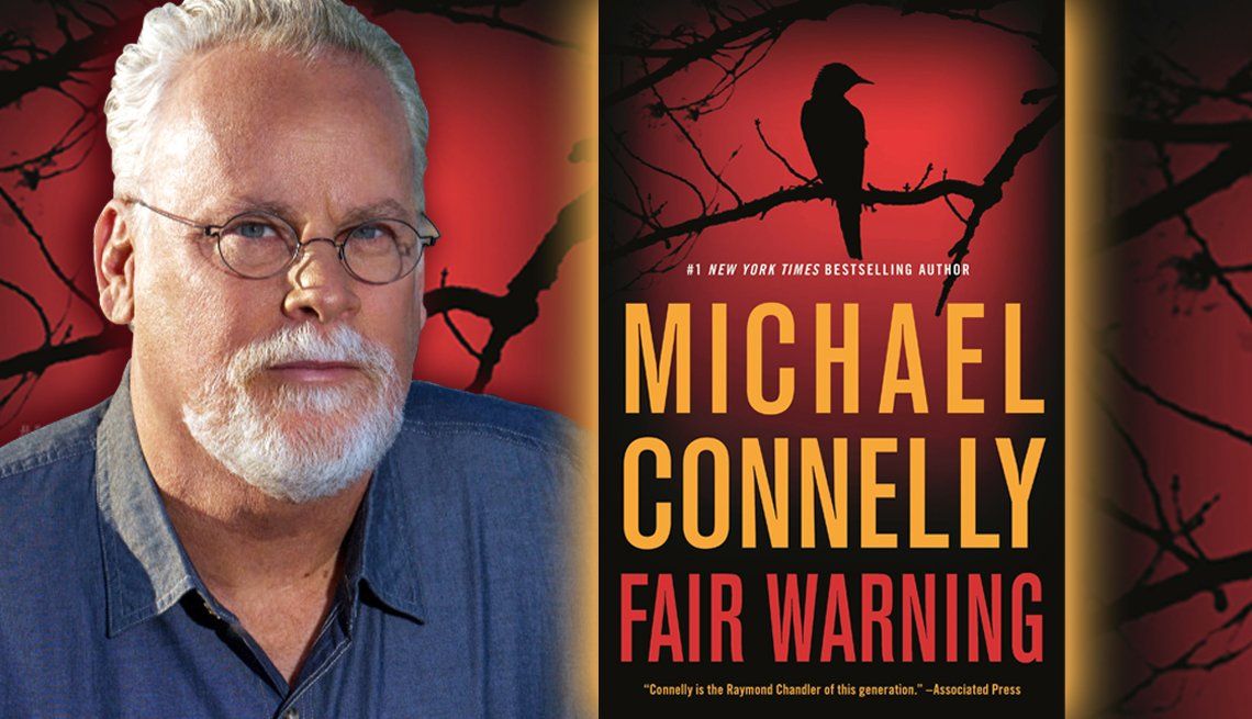 photo of author michael connelly and his latest book fair warning