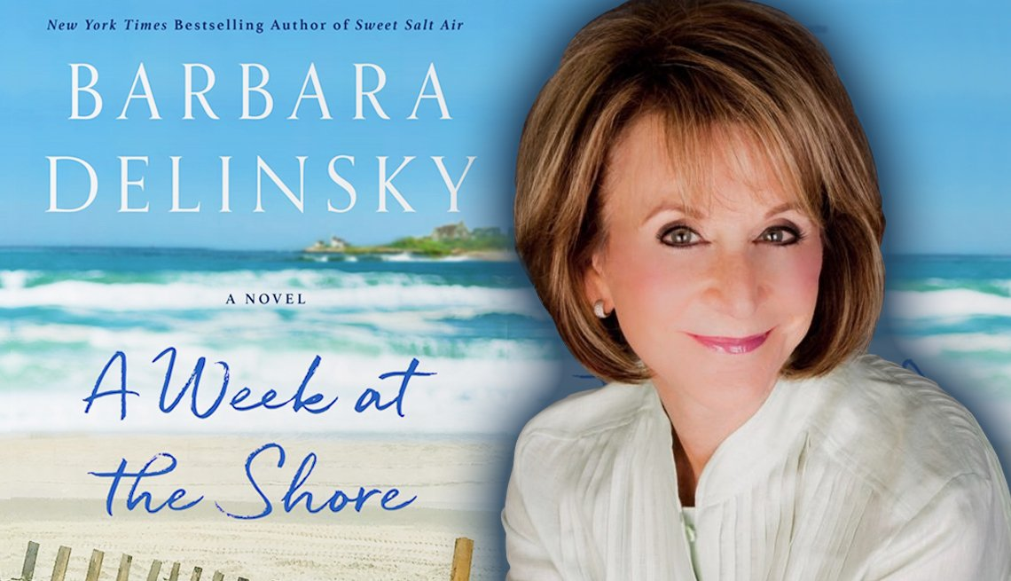 author barbara delinsky in front of her latest book cover titled a week at the shore