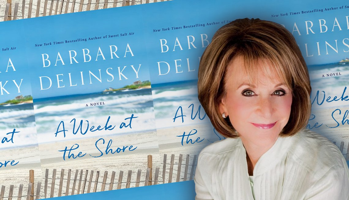 author barbara delinsky in front of her latest books cover a week at the shore