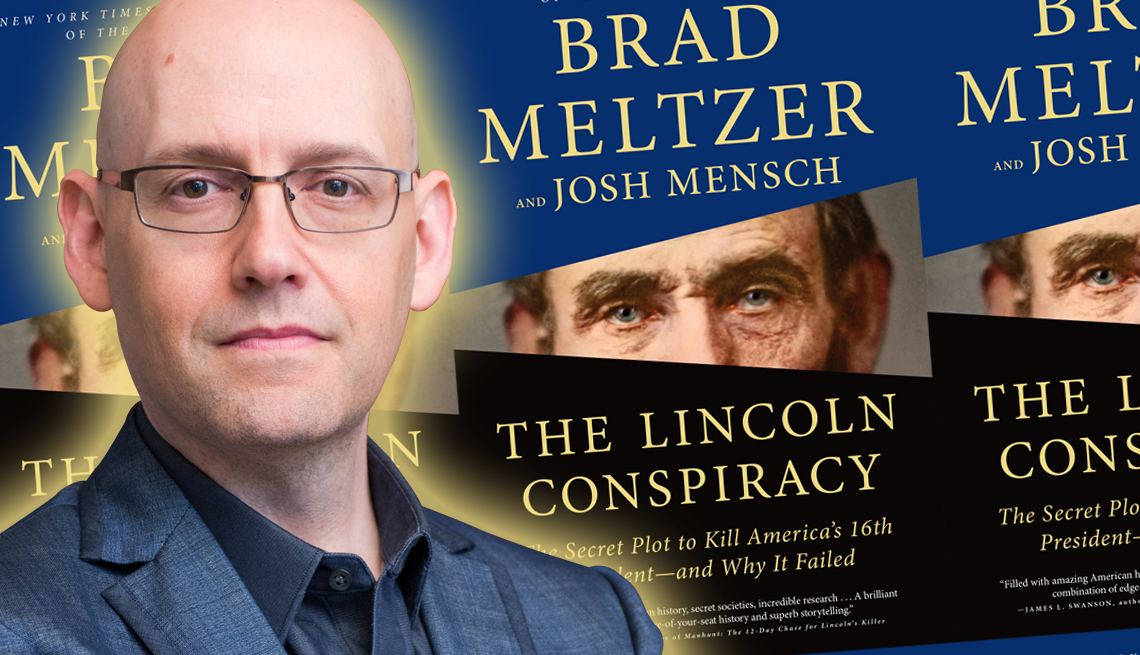 brad meltzer and the cover of his latest book titled the lincoln conspiracy