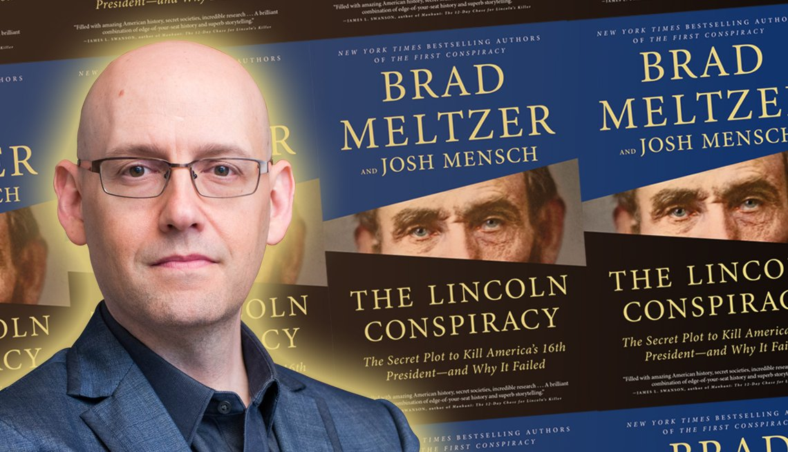 author brad meltzer and the cover of his latest book titled the lincoln conspiracy