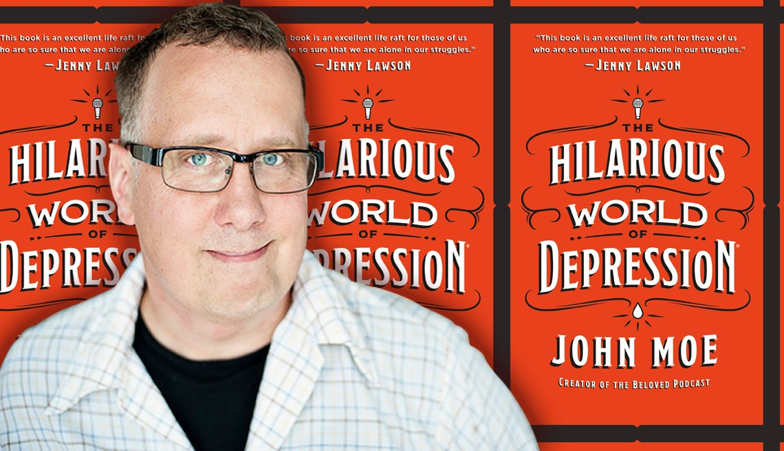 author john moe in front of his latest book cover titled the hilarious world of depression