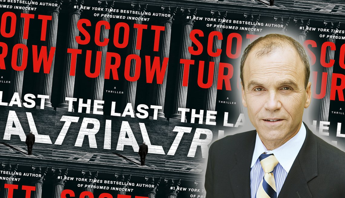 author scott turow and the cover of his new book the last trial