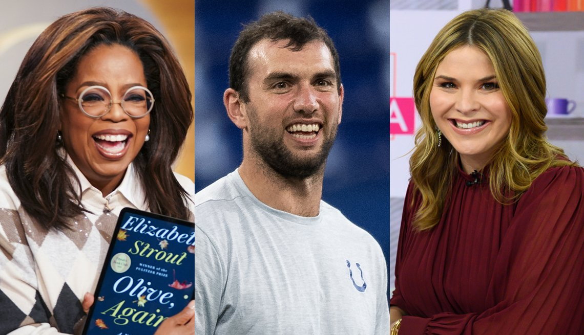 photos of three book club celebs Oprah Winfrey, Andrew Luck and Jenna Bush Hager