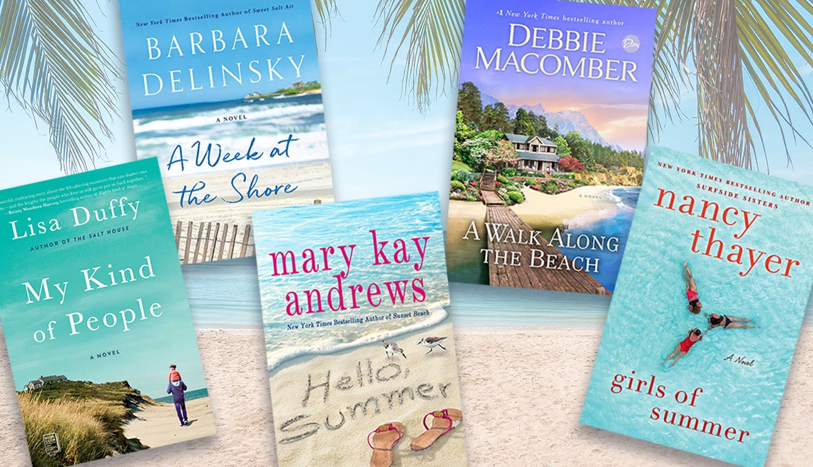 five books collaged over a beach scene with palm fronds