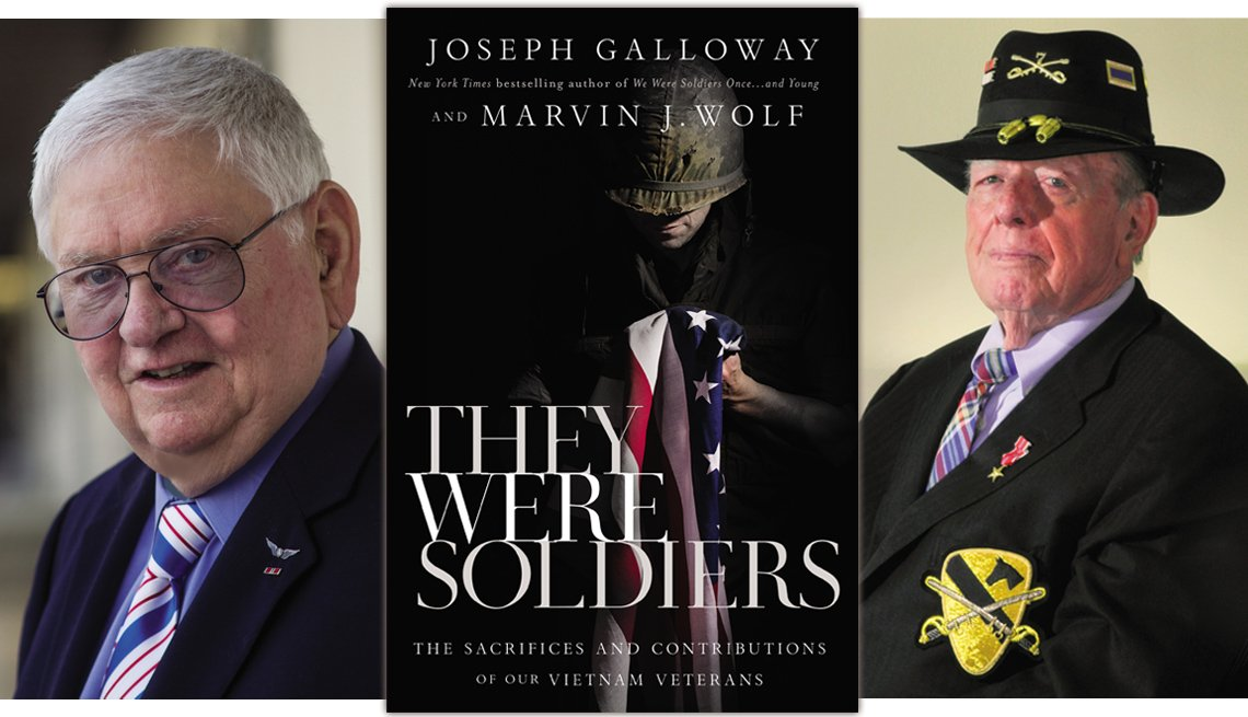 book cover of they were soldiers flanked by photos of the two authors on the left is marvin j wolf and joseph galloway is on the right