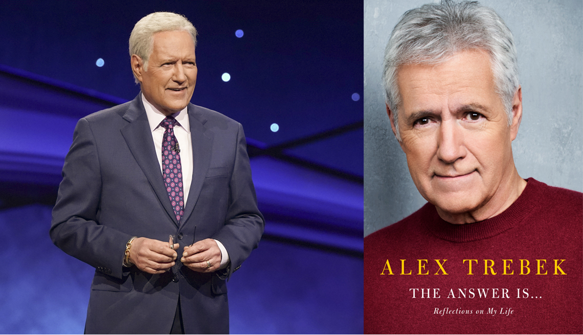 alex trebek on the jeopardy game show set and the cover of his memoir titled the answer is