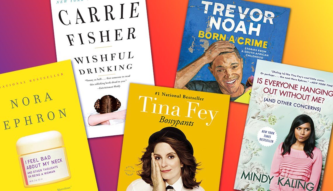 collection of book covers of memoir books by nora ephron carrie fisher tina fey trevor noah and mindy kaling