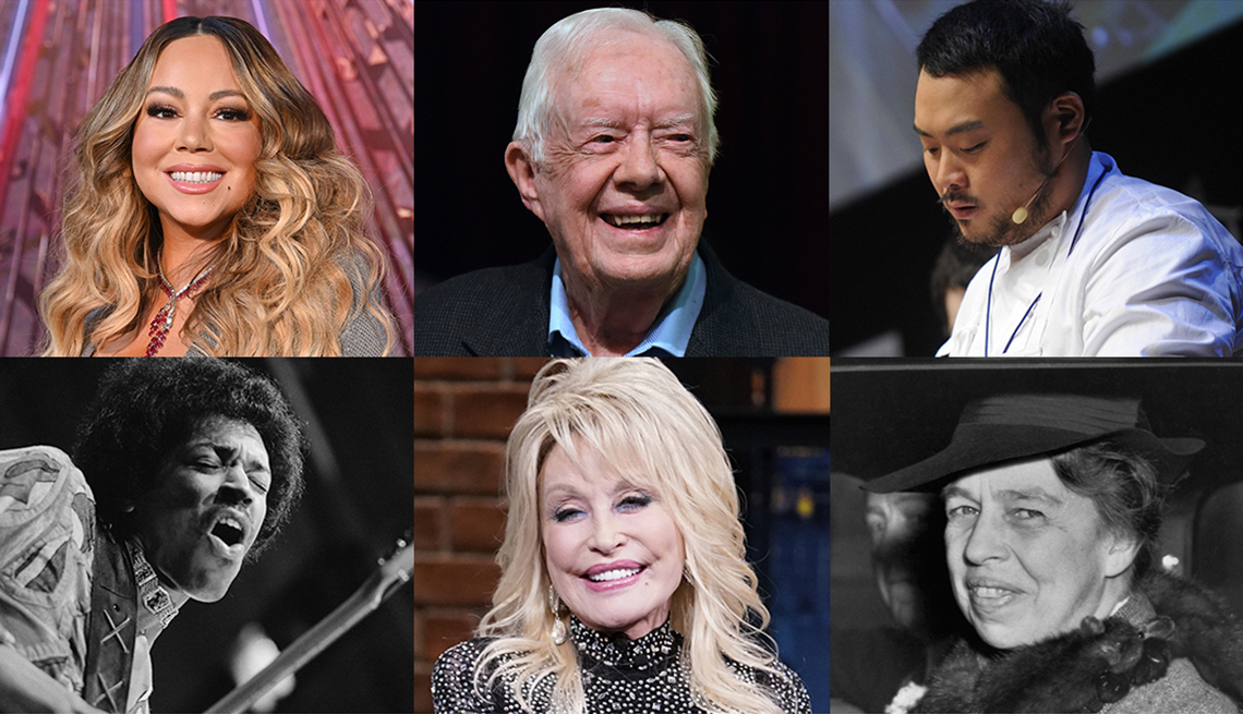 6 photos of well known personalities mariah carey jimmy carter chef david chang eleanor roosevelt dolly parton and jimi hendrix
