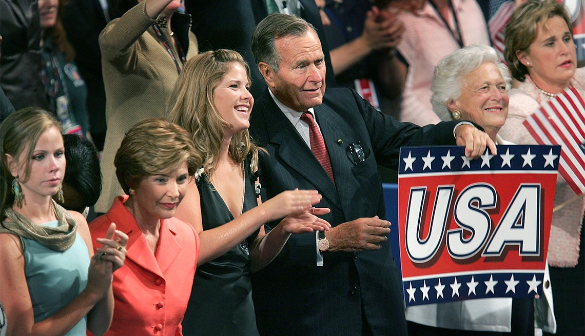 President George W. Bush and family at the 2004 Republican National Convention