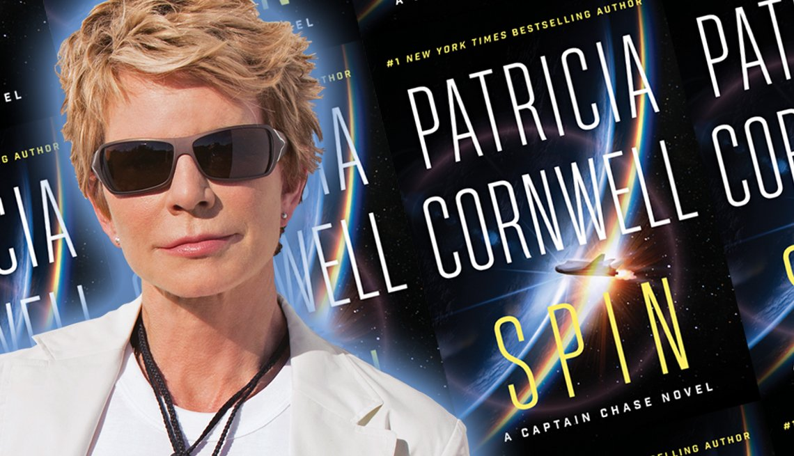 author patricia cornwall and the cover of her newest novel spin