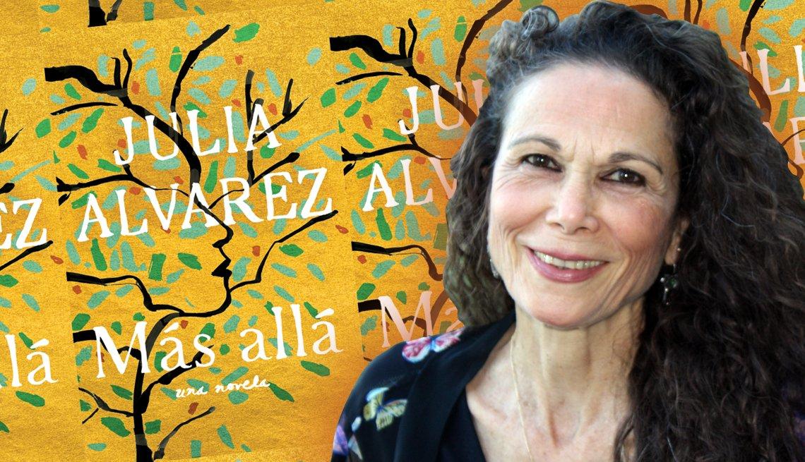 Retrato de Julia Alvarez sobre la portada de su novela Más allá