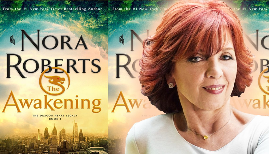 author nora roberts and the cover of her latest novel titled the awakening