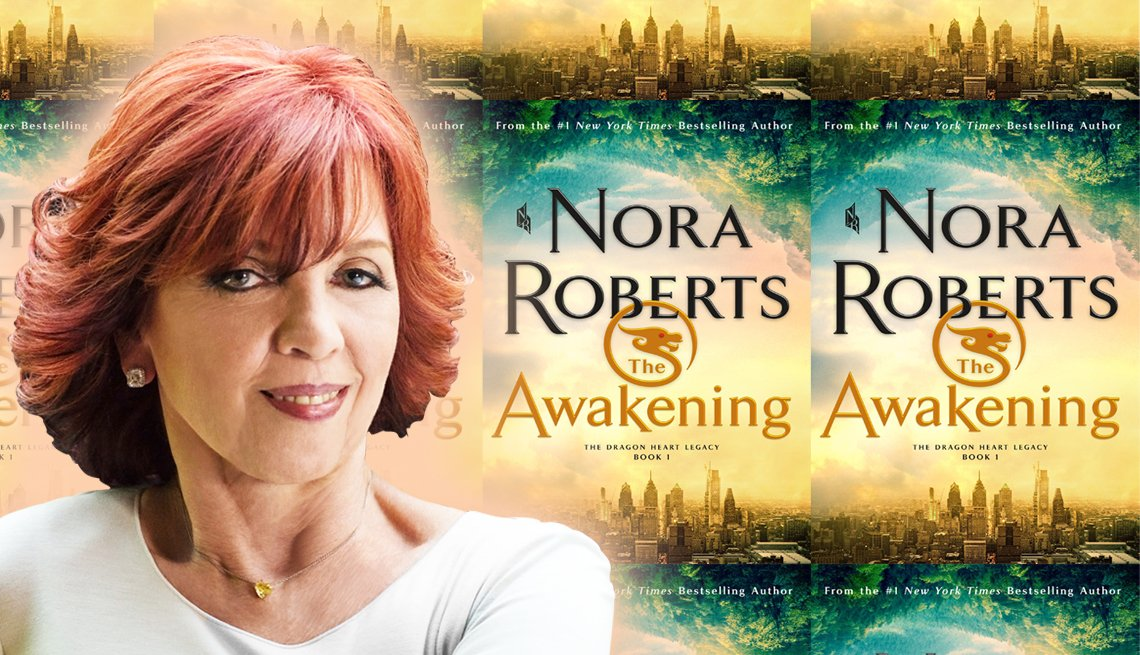 nora roberts and the cover of her latest novel titled the awakening