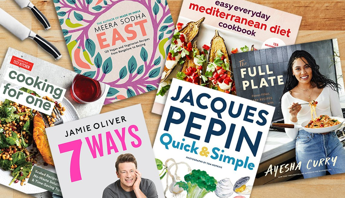 six new cookbooks are shown on a butcher block kitchen background