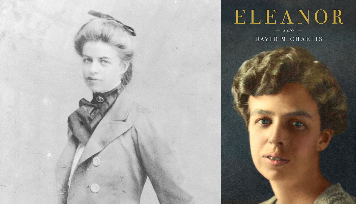 a young eleanor roosevelt in a historical photo and the cover of a new biography
