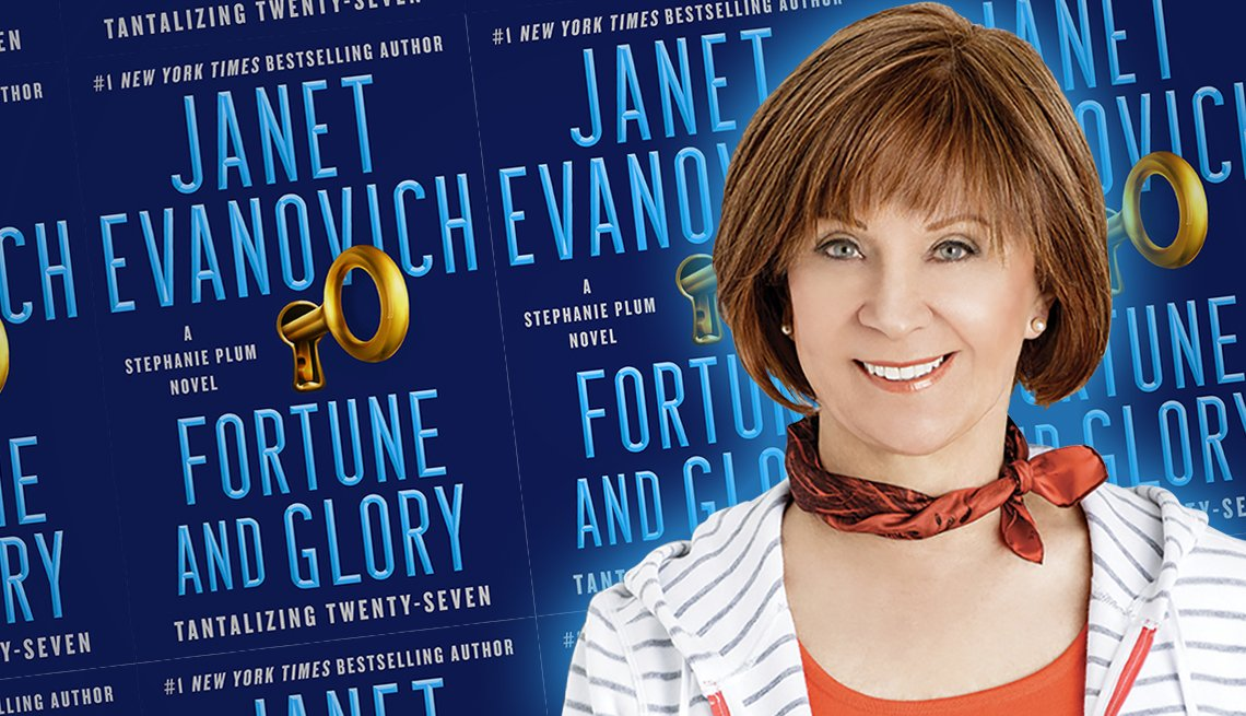 author janet evanovich and the cover of her latest book titled fortune and glory