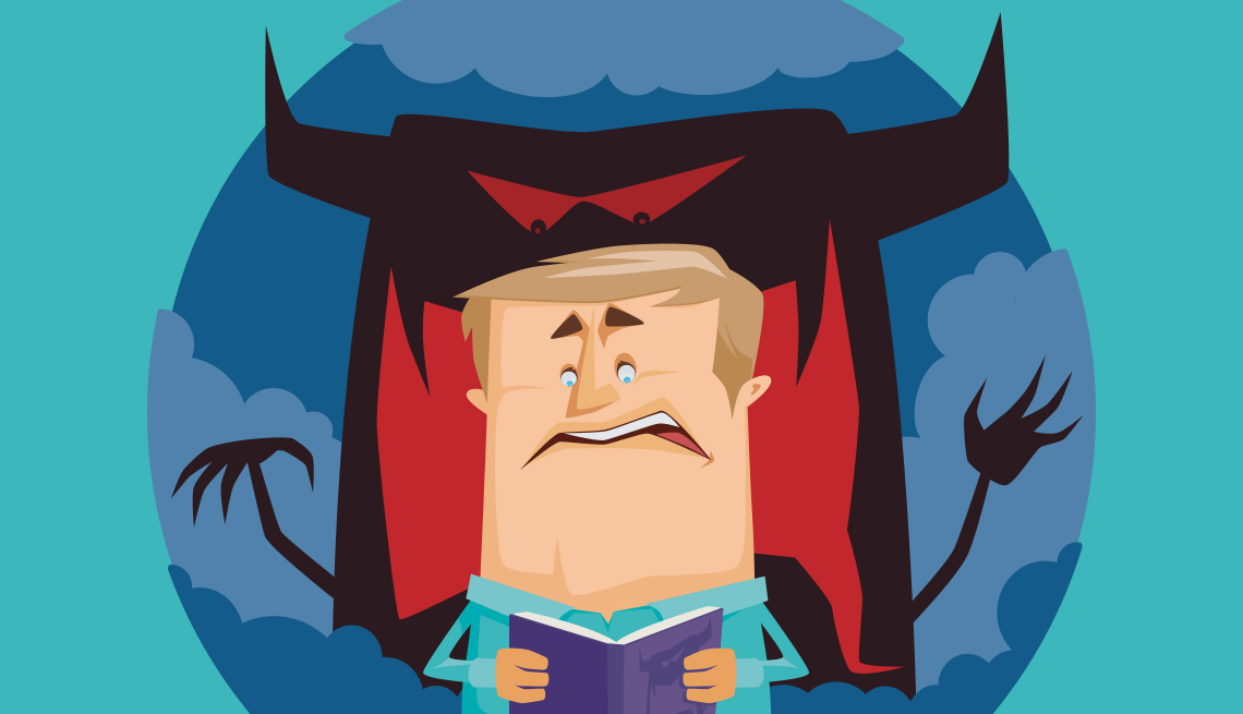 illustration of a man reading a scary book and imagining there is a monster behind him