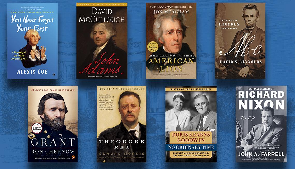 Tapas de los libros sobre G. Washington, J. Adams, A. Jackson, A Lincoln, U. Grant, T. Roosevelt, F. Roosevelt, R. Nixon.