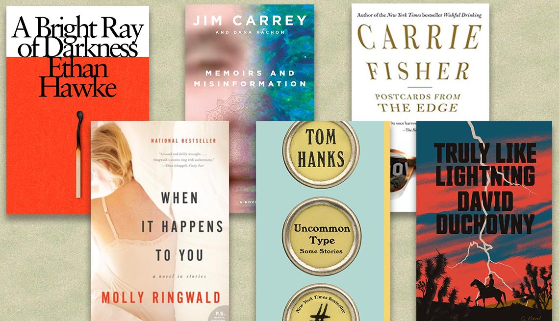 Libros de actores convertidos en autores Ethan Hawke, Jim Carrey, Carrie Fisher, David Duchovny, Tom Hanks y Molly Ringwald.