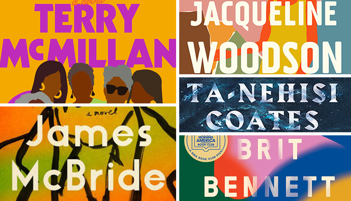 snapshot of recent book covers by popular black authors terry mcmillan jacqueline woodson ta nehisi coates brit bennett and james mcbride