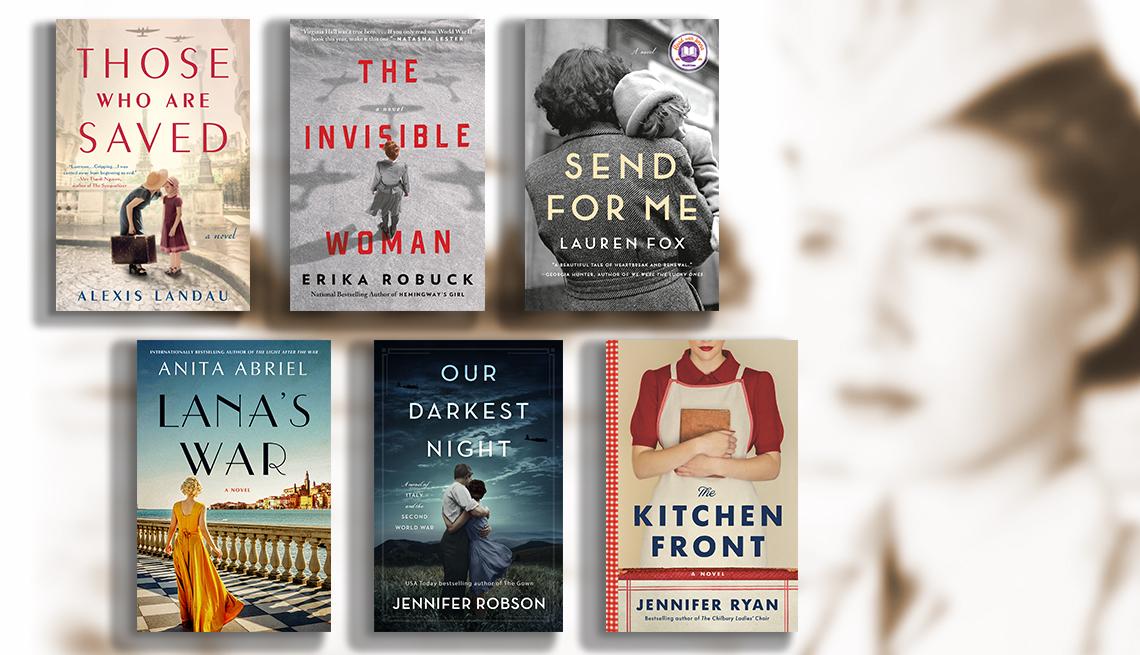 Desde la esquina superior izquierda: La portada de los libros Those Who Are Saved, The Invisible Woman, Send for Me, Lana's War, Our Darkest Night, The Kitchen Front.