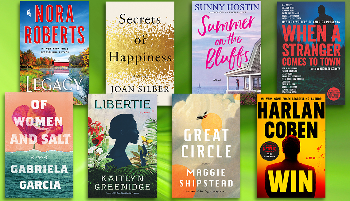 fiction book covers pictured include new titles by nora roberts joan silver sunny hostin kaitlyn greenidge maggie shipstead harlan coren gabriela garcia and a mystery compilation of short stories