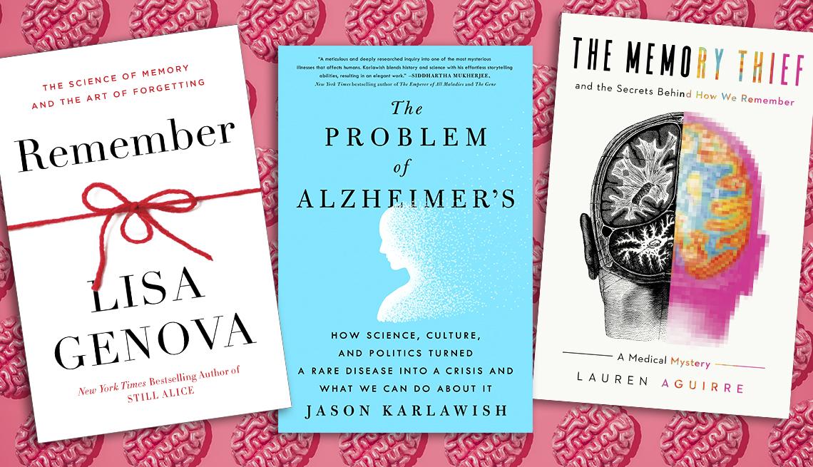 """La portada de los libros """"Remember, """"The Problem of Alzheimer's"""" y """"The Memory Thief""""."""