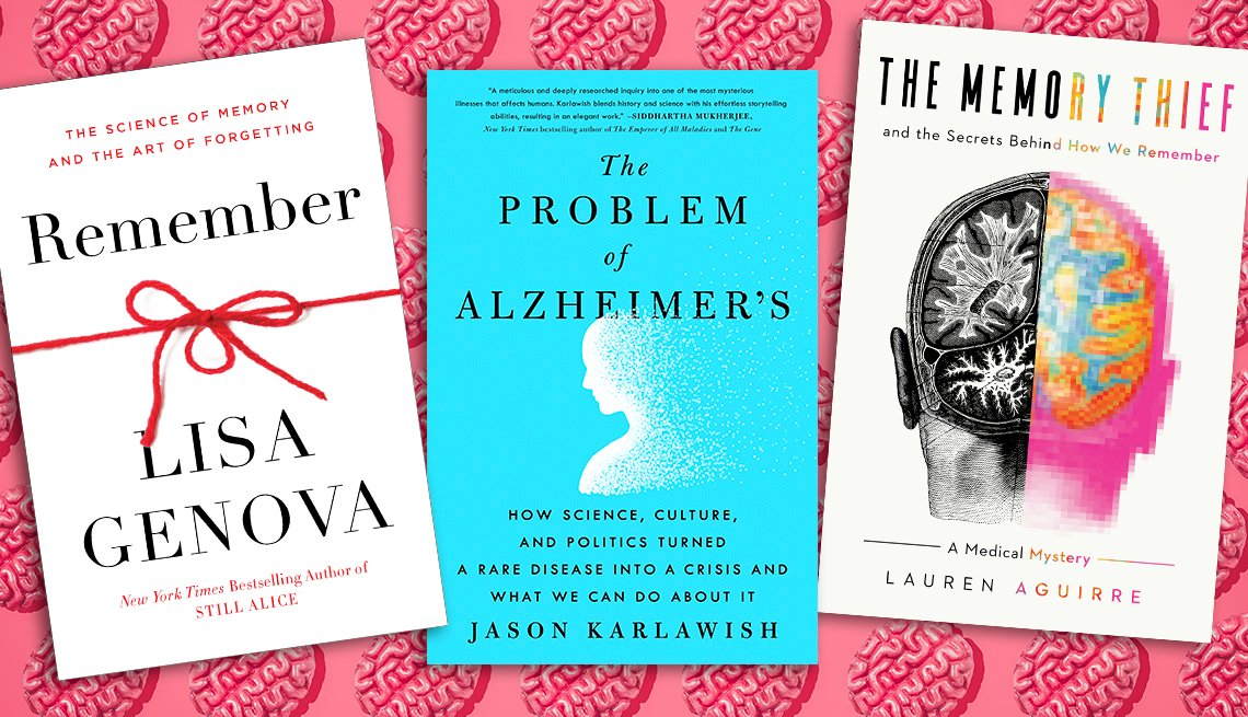 three books about memory and brain health on top of a graphic of brains in rows on pink background