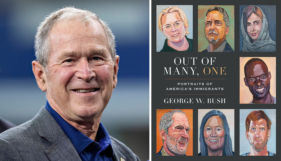 president george w bush alongside his new book of paintings titled out of many one