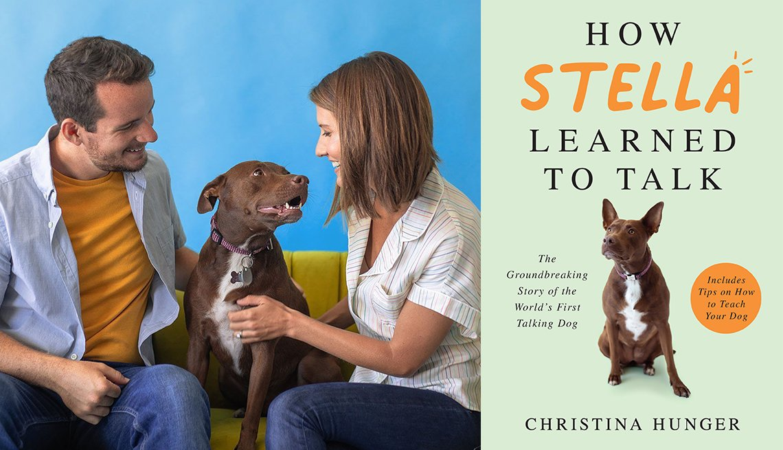 the book cover of how stella learned to talk by christina hunger and a photo of stella