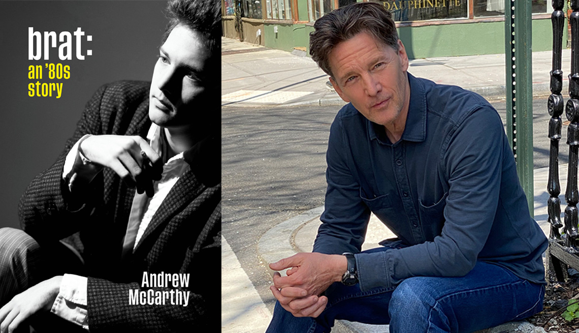 Side by side images of the book cover for Brat: An 80s Story and Andrew McCarthy