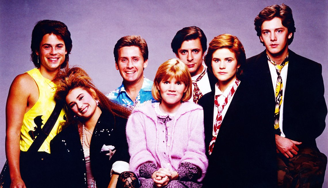 A photo of the cast of St. Elmo's Fire featuring Rob Lowe, Demi Moore, Emilio Estevez, Ally Sheedy, Judd Nelson, Mare Winningham and Andrew McCarthy