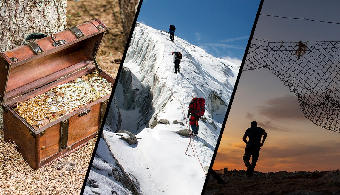 three scenes of adventure from left to right a treasure chest full of gold and jewels a mountain climbing expedition and a man escaping prison