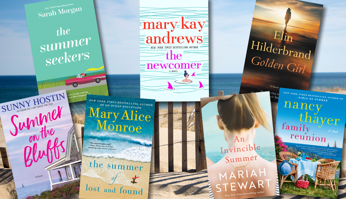 a collage of new books over a photo of a beach