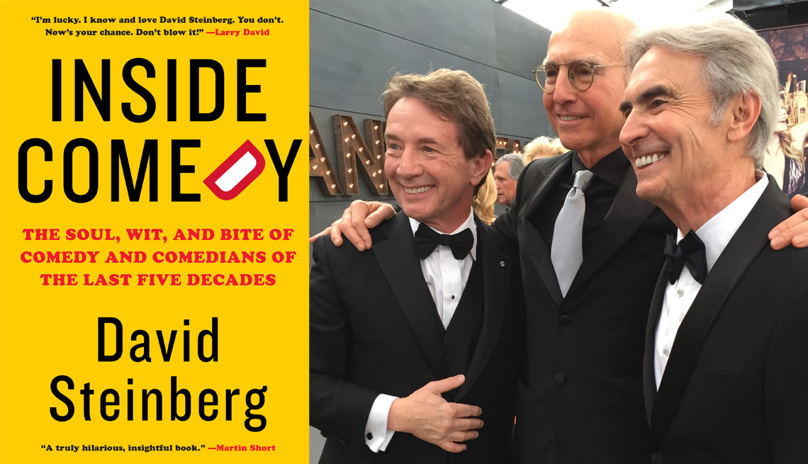 Inside Comedy book cover, plus Martin Short, Larry David and David Steinberg