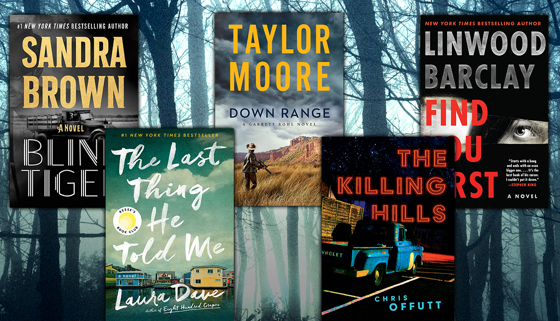 five thriller books including blind tiger by sandra brown and the last thing he told me by laura dave and down range by taylor moore and the killing hills by chris offutt and find you first by linwood barclay