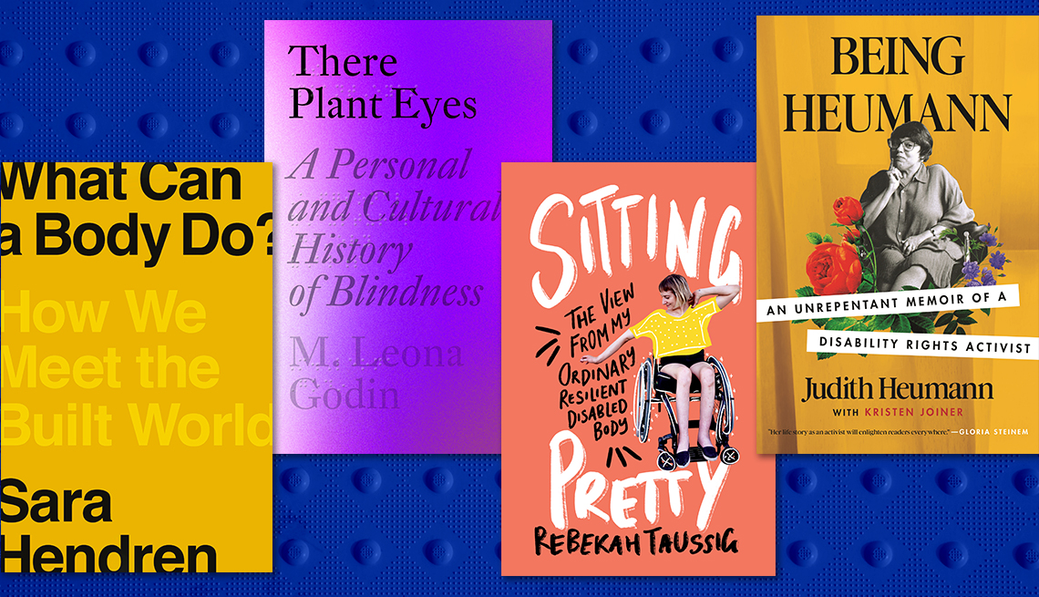four books on disability from left what can a body do there plant eyes sitting pretty and being huemann