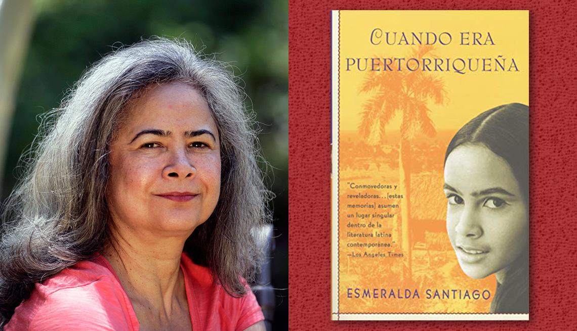 item 3 of Gallery image - La escritora Esmerlada Santiago y la portada del libro 'Cuando era puertorriqueña'.