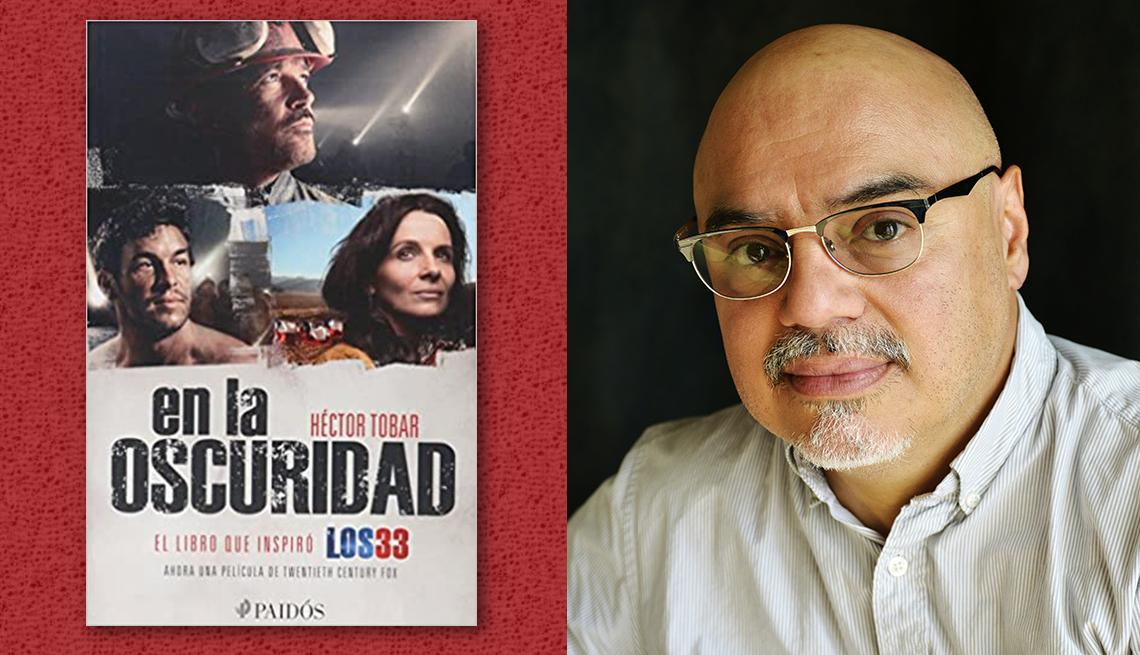 item 9 of Gallery image - El escritor Héctor Tobar y la portada de su libro 'En la oscuridad'.