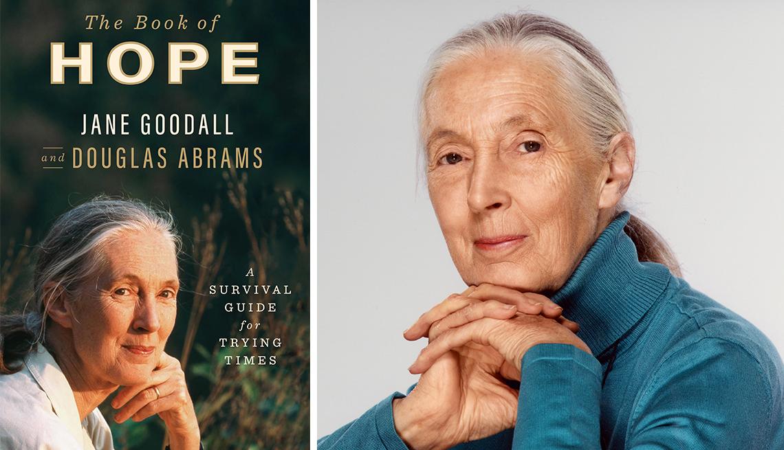 Jane Goodall y la portada de su libro.