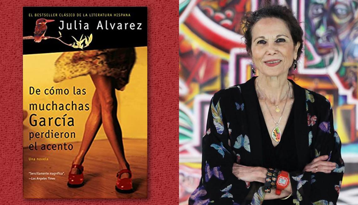 item 4 of Gallery image - La escritora Julia Alvarez y la portada de su libro 'De cómo las muchachas García perdieron el acento'.