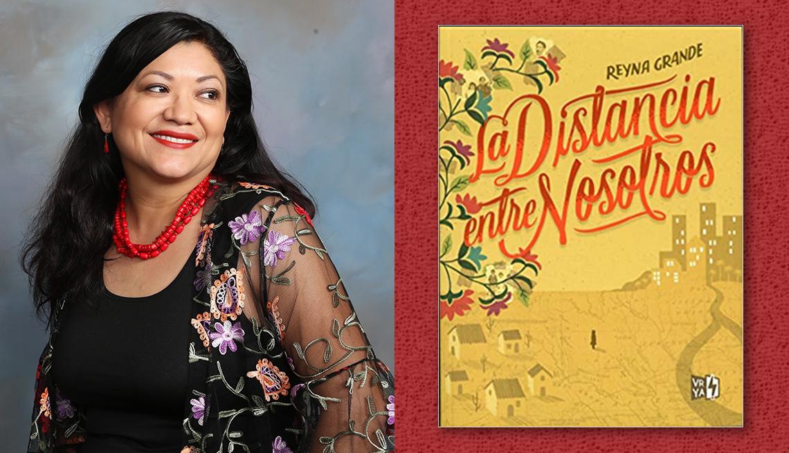 item 11 of Gallery image - La escritoria Reyna Grande y la portada de su libro 'La distancia entre nosotros'.