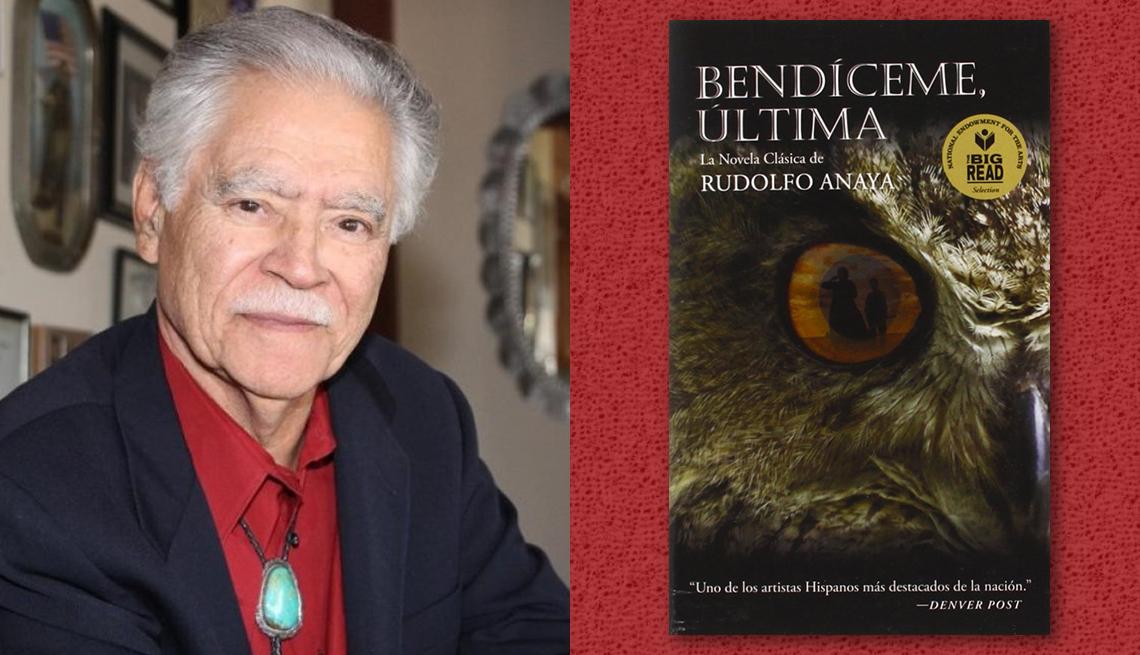 item 1 of Gallery image - El escritor Rudolfo Anaya y la portada de su libro 'Bendíceme, Última'.