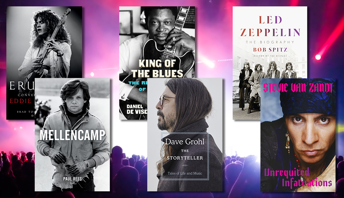 from left to right books about eddie van halen and john mellencamp and b b king and dave grohl and led zeppelin and stevie van zandt
