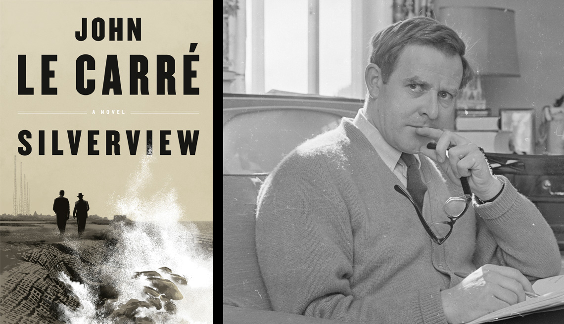 silverview by john le carre next to a portrait of john le carre from 1965