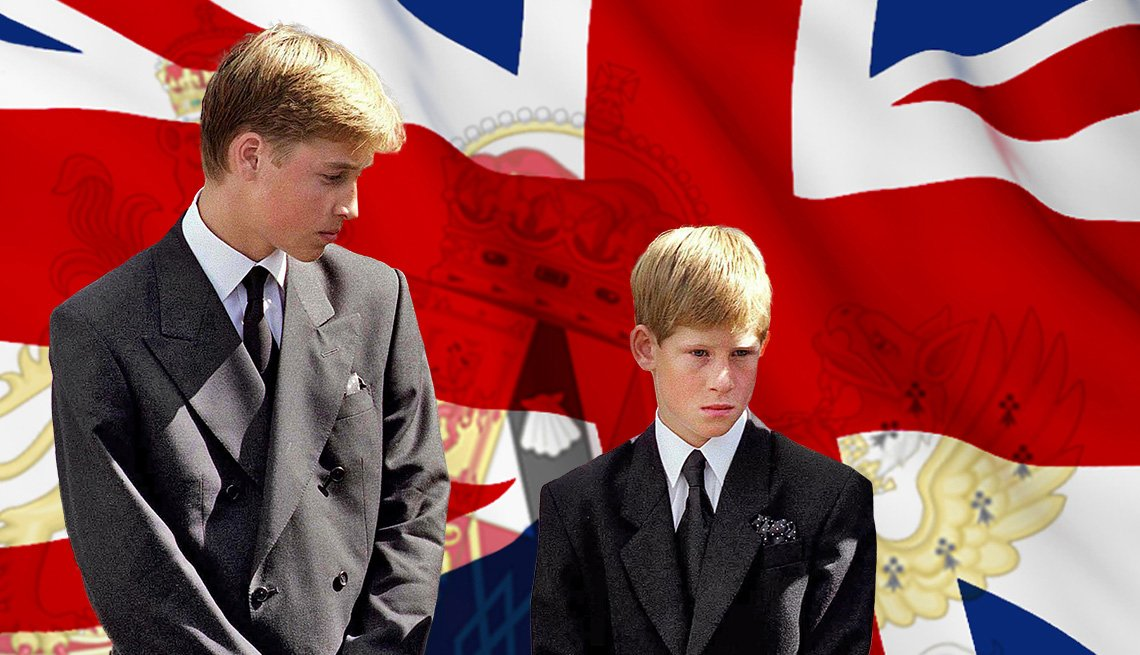 William y Harry, hijos de la princesa Diana el día de su funeral.