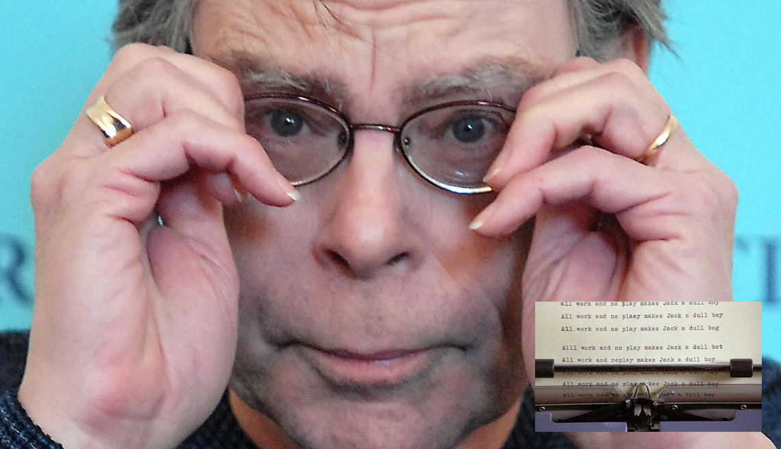 Writer Stephen King With Inset Of A Still Of The Typewriter From The Movie The Shining, AARP Entertainment, How Celebrities Face Their Worst Fears