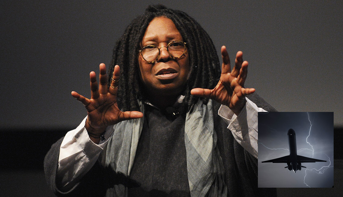 Actress And Comedienne Whoopi Goldberg, Inset Of An Airplane In Air With Lightning Bolt In Foreground, AARP Entertainment, How Celebrities Face Their Worst Fears
