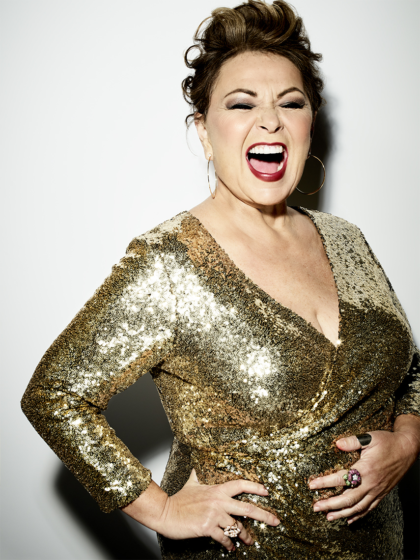 Roseanne Barr In Gold Lame Dress And Glamour Makeup